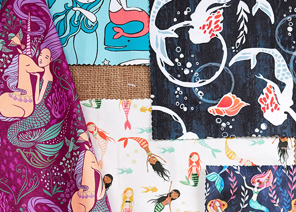 Shop trending mermaid fabrics, wallpapers and gift wrap