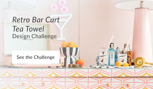 See the Retro Bar Cart Tea Towel Design Challenge Results