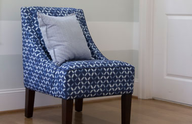 Roostery Venda chair and pillow featuring designs from the Spoonflower Marketplace.