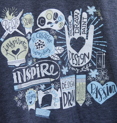 2017 Spoonflower T-Shirt front design closeup.
