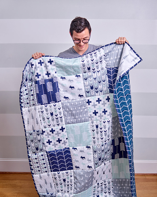 Cheater quilt made using Spoonflower fabric
