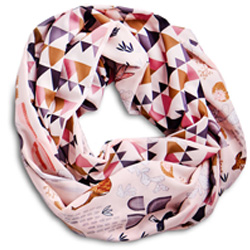 Infinity scarf made using Spoonflower fabric