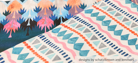 Layout of 5 multi-colored Cypress Cotton Canvas printed fabrics from Spoonflower.