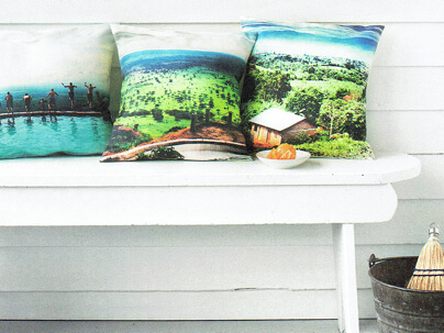 Pillows with photo designs on Spoonflower fabric