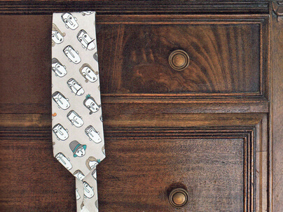 A tie made with Spoonflower fabric