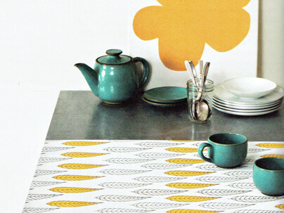 Table runner made with Spoonflower fabric