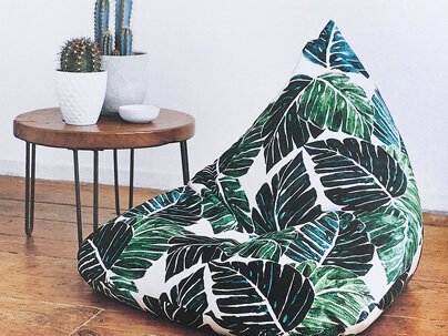 Bean bag chair made from multiple yards of Spoonflower fabric