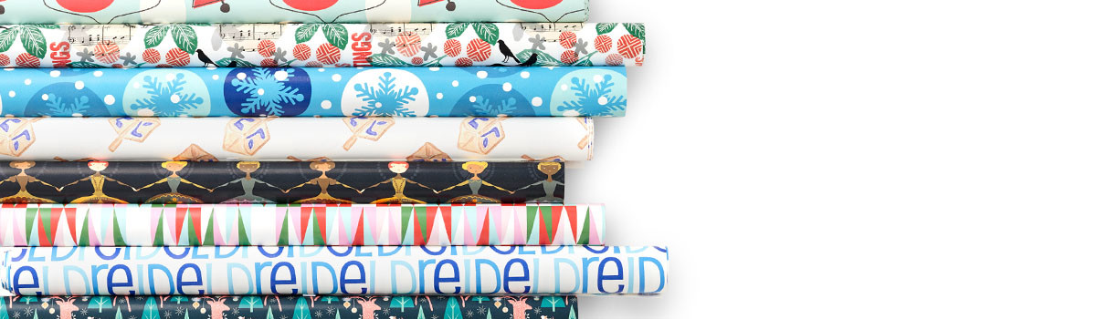 Gift wrap featuring various Spoonflower designs