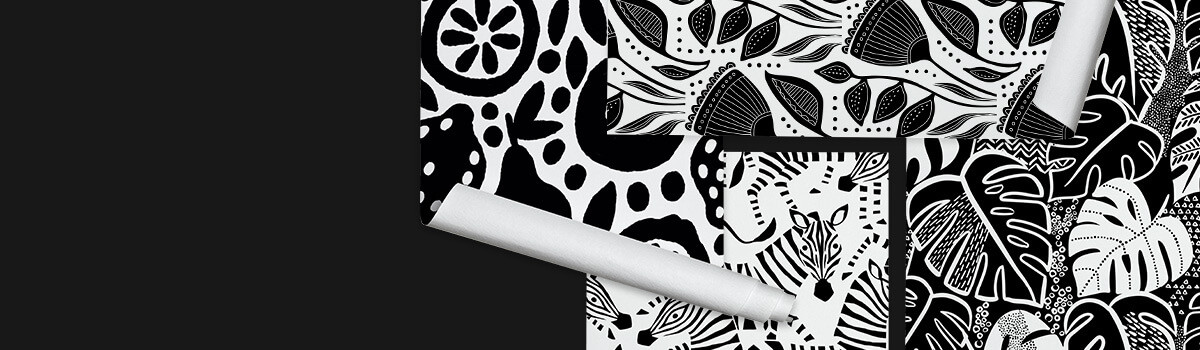 Black and white designs on Spoonflower wallpaper