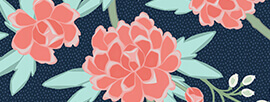 Paeonia in Coral and Mint on Navy design